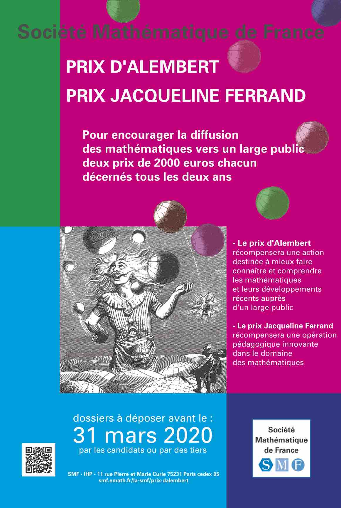 Prix d'Alembert et Jacqueline Ferrand : 31 mai 2020 date limite de candidature