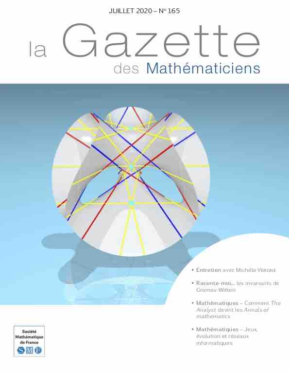 La Gazette des mathématiciens 165 (juillet 2020)