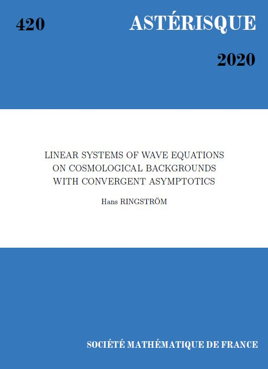 Linear systems of wave equations on cosmological backgrounds with convergent asymptotics