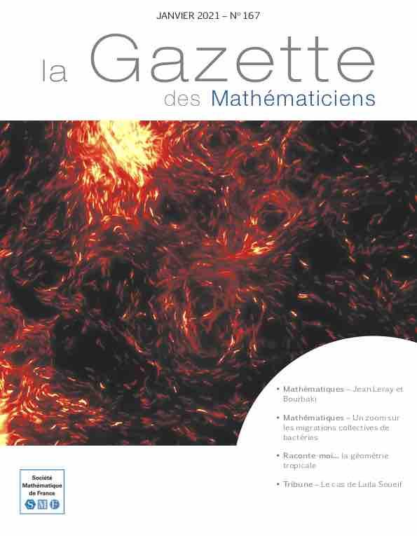 La Gazette des mathématiciens 167 (janvier 2021)