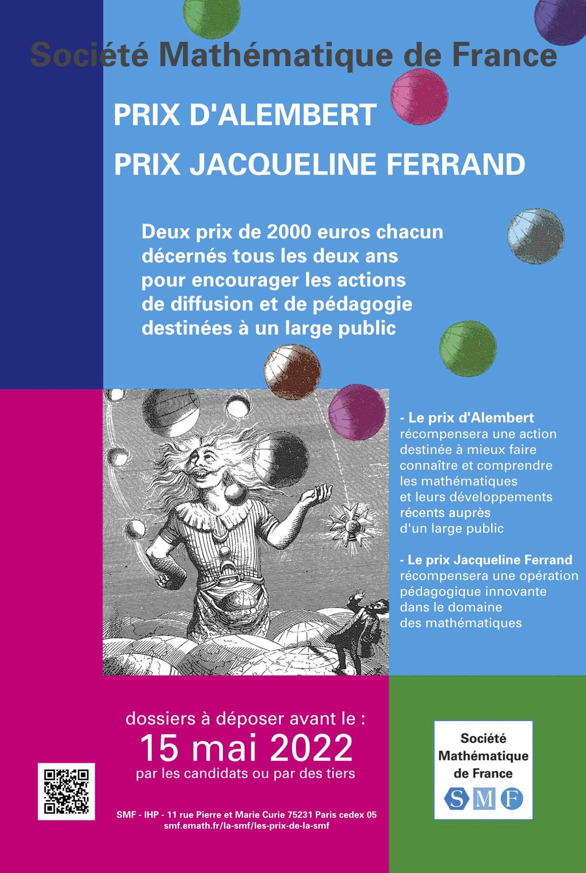 Appel à candidature Prix d'Alembert et Prix Jacqueline Ferrand