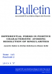 Differential forms in positive characteristic avoiding resolution of singularities