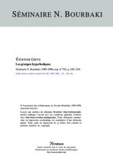 Exposé Bourbaki 722 : Les groupes hyperboliques