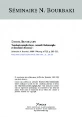Exposé Bourbaki 725 : Topologie Symplectique, convexité holomorphe et structures de contact [d'après Y.Eliashberg, D.McDuff et al.]