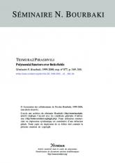 Exposé Bourbaki 877 : Foncteurs polynomiaux sur les corps finis