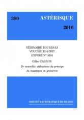 Exposé Bourbaki 1094: De nouvelles utilisations du principe du maximum en géométrie