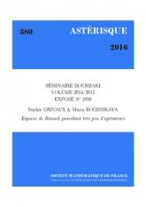 Exposé Bourbaki 1099: Espaces de Banach possédant très peu d'opérateurs