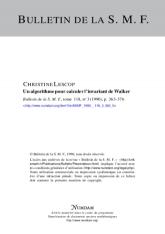 Un algorithme pour calculer l'invariant de Walker