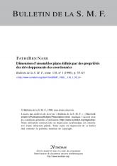 Dimension d'ensembles plans définis par des propriétés des développements des coordonnées