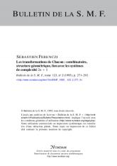 Les transformations de Chacon: combinatoire, structure géométrique, lien avec les systèmes de complexité $2n+1$