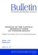 Hessien de la forme hermitienne naturelle sur des espaces de twisteurs