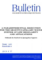 Une réduction paradifférentielle du système des vagues de gravité-capillarité à basse régularité et applications