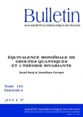 Équivalence monoïdale de groupes quantiques et$K$-théorie bivariante