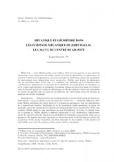 Mécanique et géométrie dans les écrits de Mécanique de John Wallis. Le calcul du centre de gravité