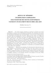 Article ou mémoire? Une réflexion comparative sur l'écriture des textes scientifiques. Navier et l'écoulement des fluides (1822–1827)