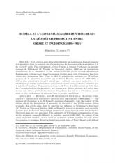Russell et l'Universal Algebra de Whitehead: la géométrie projective entre ordre et incidence (1898–1903)