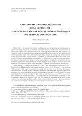 Exploration d'un mode d'écriture delagénéralité: l'article de Poincaré sur les lignes géodésiques des surfaces convexes (1905)