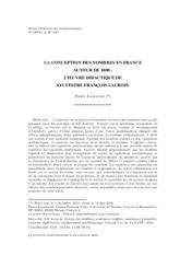 La conception des nombres en France autour de 1800: l'œuvre didactique de Sylvestre François Lacroix
