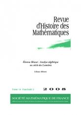 Étienne Bézout: Analyse algébrique au siècle des Lumières