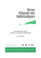 Tables des diviseurs 1657-1817, avec des notes sur la naissance de la théorie des nombres
