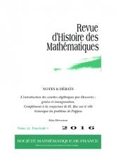 NOTES & DÉBATS: L'introduction des courbes algébriques par Descartes: genèse et inauguration. Complément à la conjecture de H. Bos sur le rôle historique du problème de Pappus
