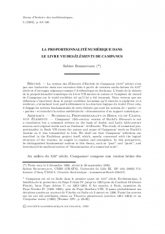 La proportionnalité numérique dans le livre VII des Éléments de Campanus