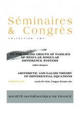 Sur les groupes de Galois des familles de systèmes aux différences réguliers singuliers