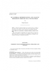 Algèbres de Lie, représentations, et semigroupes analytiques par champs de vecteurs duals
