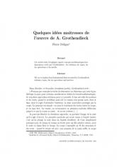 Quelques idées maîtresses de l'œuvre de A.Grothendieck