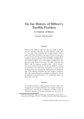 On the History of Hilbert's Twelfth Problem