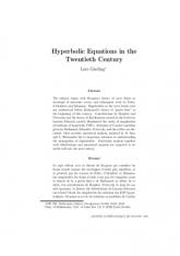 Hyperbolic Equations in the Twentieth Century