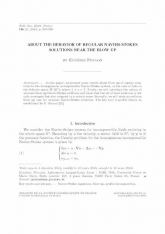 About the behavior of regular Navier-Stokes solutions near the bow up