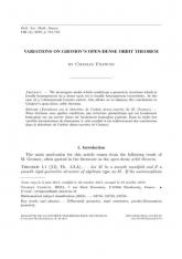 Variations sur le théorème de l'orbite dense-ouverte de M. Gromov