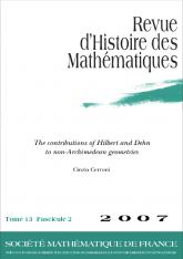 Les contributions de Hilbert et de Dehn aux géométries non-archimédiennes et leur impact sur l'école italienne
