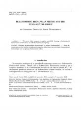 Métrique riemannienne holomorphe et groupe fondamental