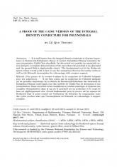 Une preuve de la version $\ell$-adique de la conjecture de l'identité intégrale pour des polynômes