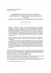 L'algèbre sans les fictions des racines : Kronecker et la théorie des caractéristiques dans les $Vorlesungen$ $\ddot{u}ber$ $die$ $algebraischen$ $Gleichungen$