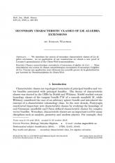 Classes caractéristique secondaries d'extensions d'algèbre de Lie