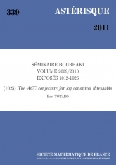Exposé Bourbaki 1025 : La conjecture ACC pour les seuils log canoniques d'après de Fernex, Ein, Mustata, Kollàr