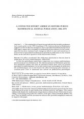 Un effort coordonné ? Des rédacteurs américains se lancent dans la publication de revues mathématiques, 1804-1878