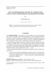 Sur l'uniformisation locale et globale des structures géométriques  holomorphes rigides