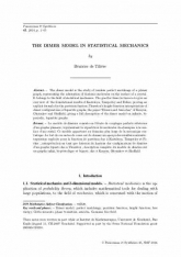 The dimer model in statistical mechanics