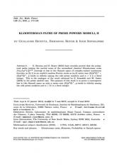 Chemins de Kloosterman de modules une puissance d'un nombre premier, II