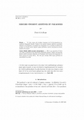 Mesures finiment additives et paradoxes