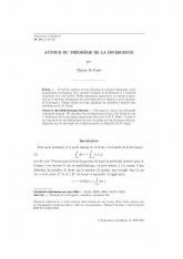Autour du Théorème de la divergence