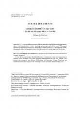 Textes et documents : Les lettres de Charles Hermite à Francisco Gomes Teixeira