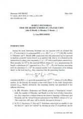 Exposé Bourbaki 1160 : Les polynômes HOMFLY à partir des schémas de Hilbert d'une courbe plane (d'après D. Maulik, A. Oblomkov, V. Shende, ...)